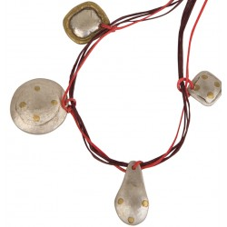 Silver Necklace with Brass - Red and Black Rope