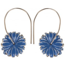 Blue Flower Enameled Silver Earrings