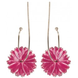 Pink Flower Enameled Silver Earrings