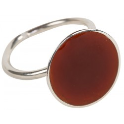 Enameled Silver Ring - Bordeaux