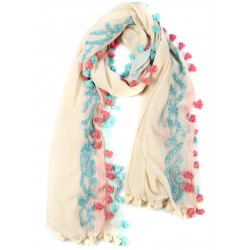 Creme Blue and Pink Fringed Cotton Silk Wrap