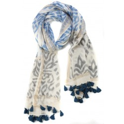 Blue Grey Fringed Cotton Silk Wrap