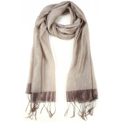 Beige Raw Silk Fringed Scarf