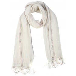Creme Silk Linen  Scarf with Red Stripes
