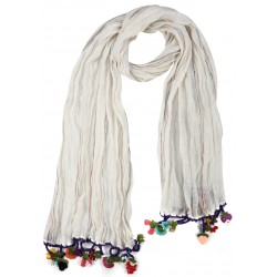 Creme Silk Linen Scarf with colored crochet