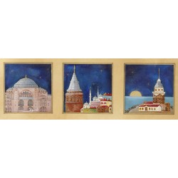 Galata Tower, Maiden's Tower and Hagia Sophia Ottoman Miniature