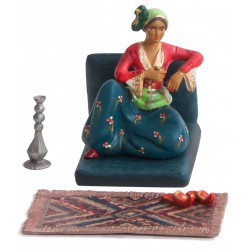 Ottoman Harem Toy Soldier: Woman Drinking Coffee and Smoking Water Pipe in Her Seat (Figure + Seat+ Rug + Water Pipe and slippers)