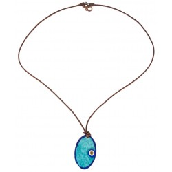 Dark Blue Evil Eye Enamel Necklace