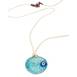 Turquoise Evil Eye Enamel Necklace - 1