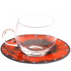 Copper Enameled Coffee Cup Tea Cup - Orange