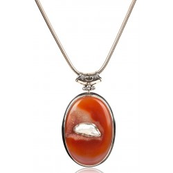 Silver Necklace with Baroque Pearl and Druzy Sarduan