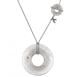 White Rhodium Plated Silver Necklace with Ruby 1