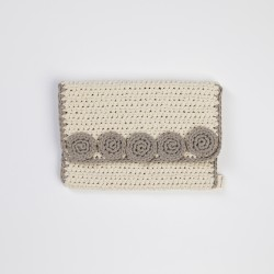 Ecru Knitted Clutch Bag with Grey Motifs