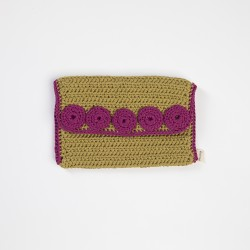 Green Knitted Clutch Bag with Fuchsia Motifs