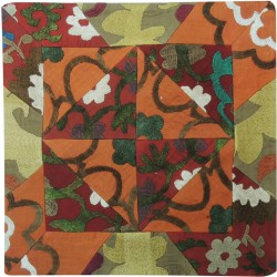 Suzani Orange and Green Pillow Slip