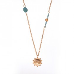 """Eye"" - 24-carat Gold Plated Silver Necklace with Turquoise"