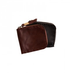 """""""Eye"""" Hand-stitched Leather Coin Purse with Brass Eye Sheet - Black"""