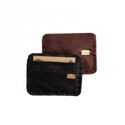 """""""Eye"""" Hand-stitched Leather Cardholder with Brass Eye Sheet - Black"""