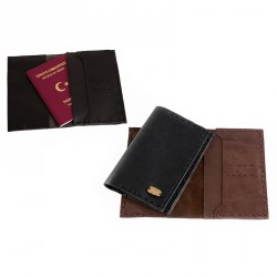 """Eye"" Hand-stitched Leather Passport Case with Brass Eye Sheet - Black"