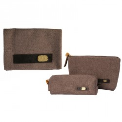 """Eye"" Fabric Pencil Case & Cosmetic Bag with Leather Holder and Brass Eye Sheet"