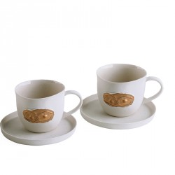 """Eye"" Porcelain Coffeecup Set with Gold Eye Detail"