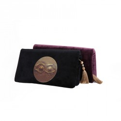 """Eye"" Velvet Clutch Bag with Brass Medallion - Black"