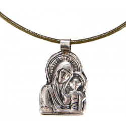 Virgin Mary and Christ Silver Necklace