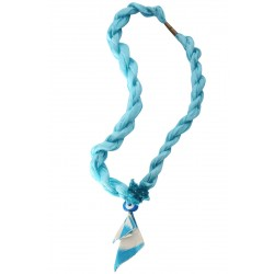 Turquoise Silk Evil Eye Necklace