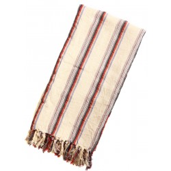 Linen Turkish Towel / Pestemal - Grey Red Stripe