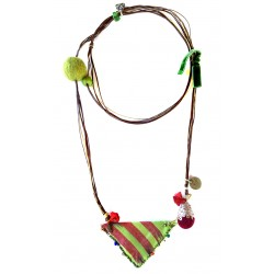 Muska Long Necklace - Green Ribbon