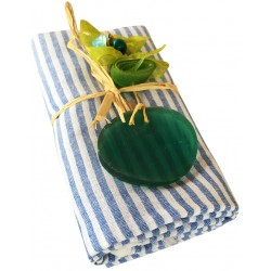 Pestemal / Turkish Hamam Towel - Blue Striped