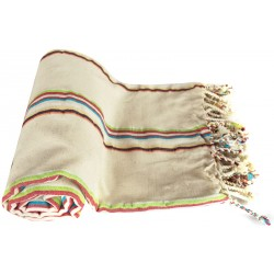 Pestemal / Turkish Hamam Towel - Cream Color Based Striped