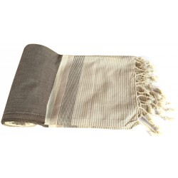 Pestemal / Turkish Hamam Towel - Grey Cross Striped