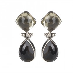 Smoky Quartz and Lemon Quartz Earring