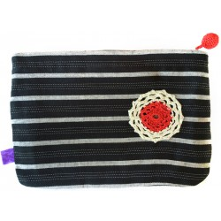 Kutnu Wallet - Black and Grey Striped