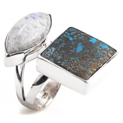 Silver Ring with Moonstone and Turquoise